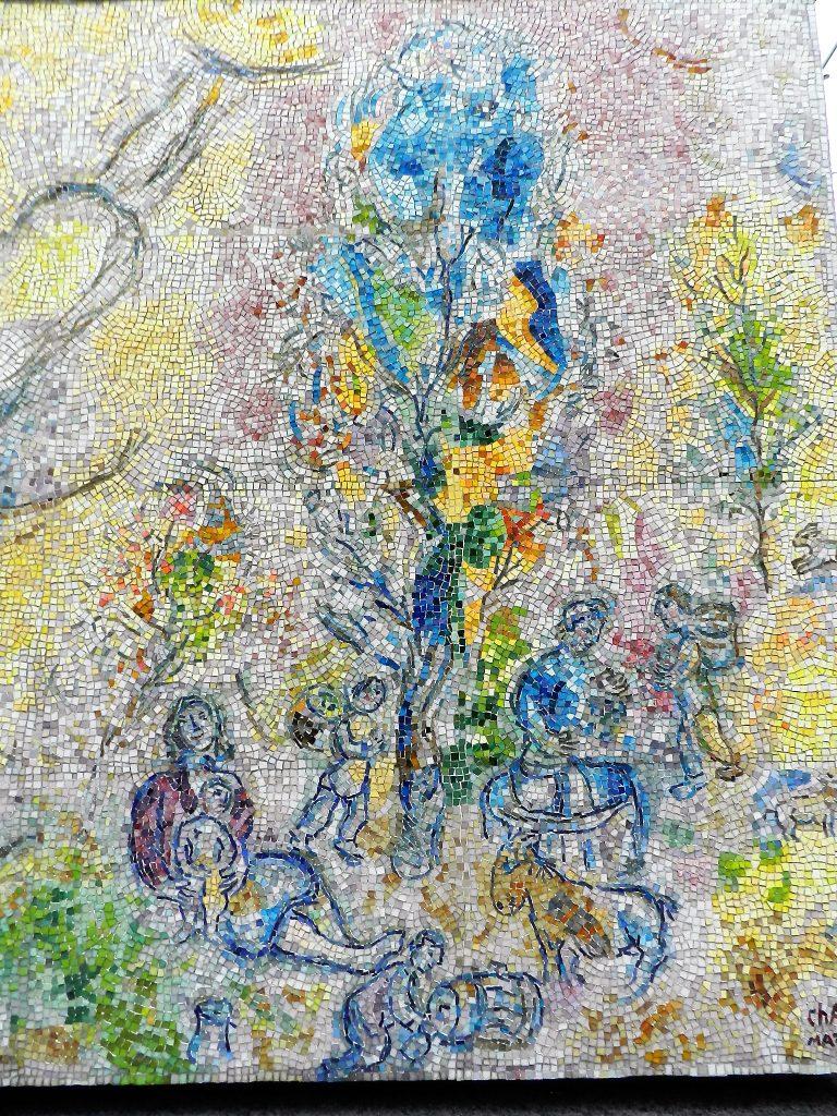 Marc Chagall's Four Seasons mosaic_ pastoral scene.