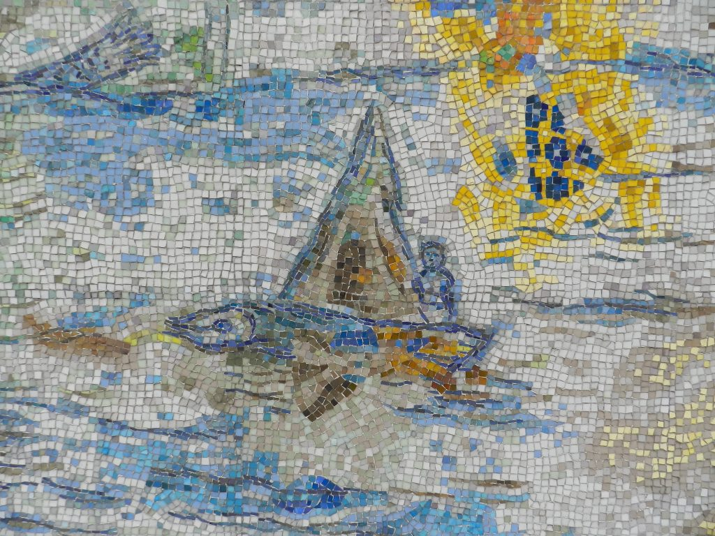 Marc Chagall's Four Seasons mosaic_ fish-boat.