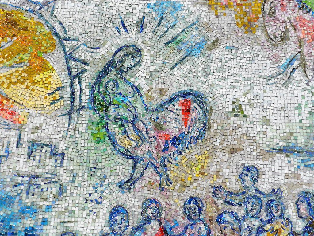 Marc Chagall's Four Seasons mosaic_ bird woman.