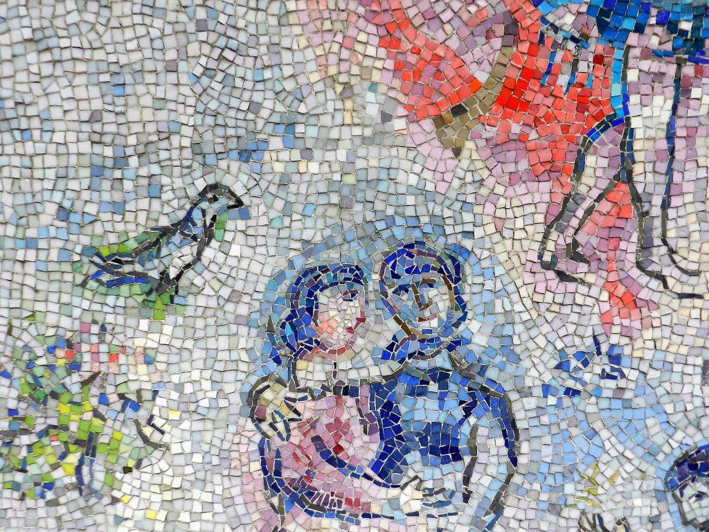 Marc Chagall's Four Seasons mosaic_ couple and bird.