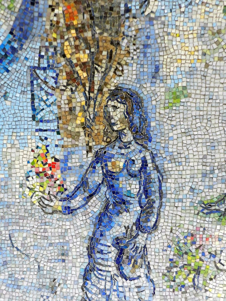 Marc Chagall's Four Seasons mosaic_ woman with flowers.