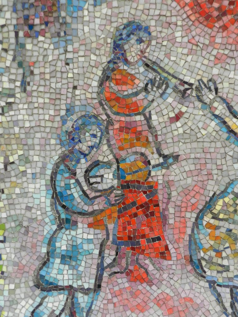 Marc Chagall's Four Seasons mosaic_wind instrument and fiddle.