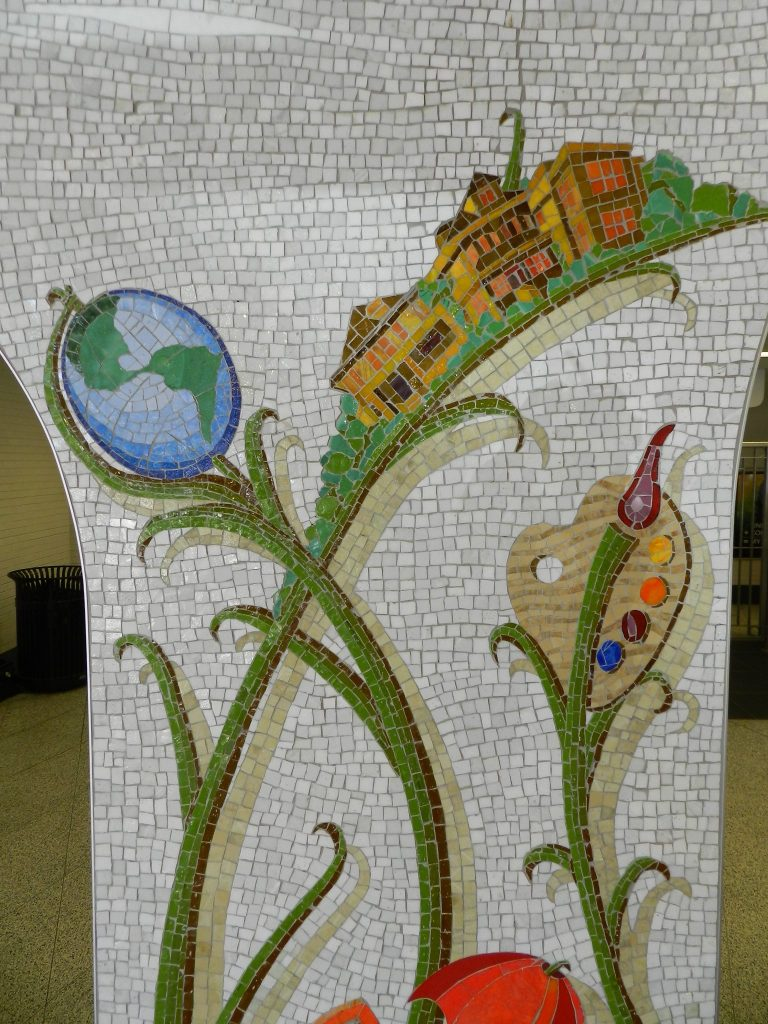 Mosaics in Chicago_Bachor's Thrive mosaic, Thorndale station, globe and houses detail.