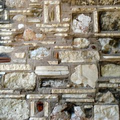 Byzantine church recycled wall, Acropolis, Athens.