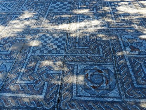 Mosaics of Greece_ roman mosaic floor with geometric patterns.