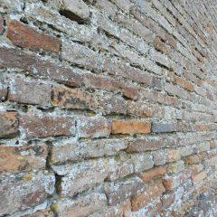 Brick wall, Offagna, Italy.
