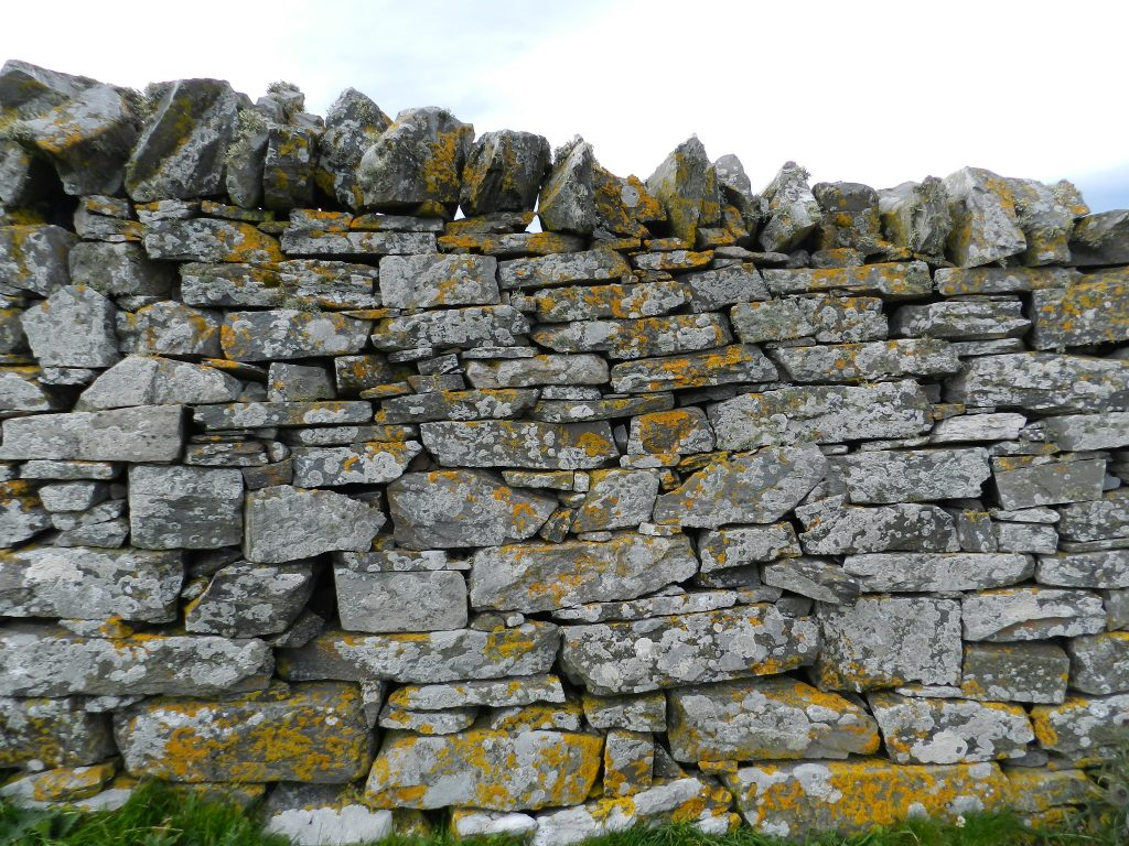 Dry stone wall with jagged ridge