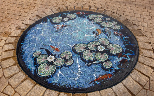Lily pond mosaic by Gary Drostle