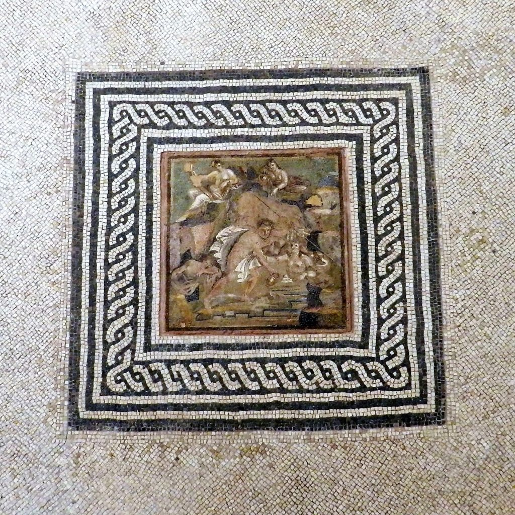 ancient mosaic with black and white border