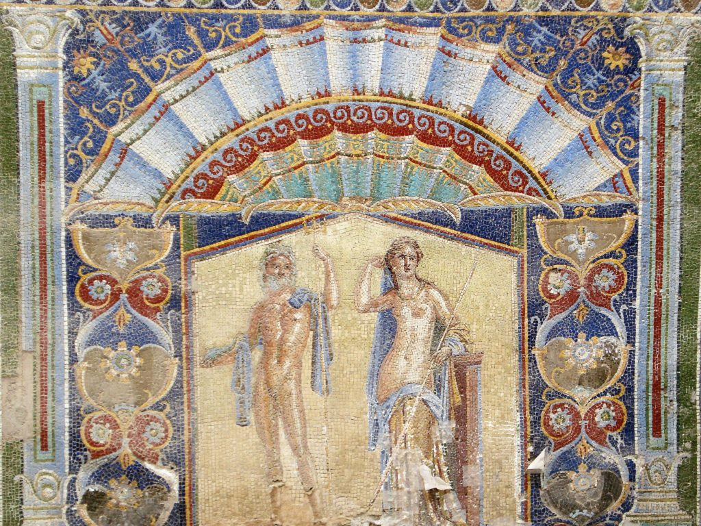 Roman wall mosaic with neptune and afroditi
