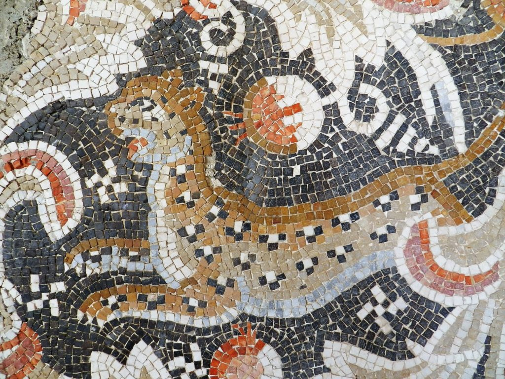 Leopard and pomegranate mosaic detail