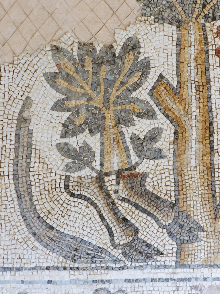 mosaic of a tree with bull's legs
