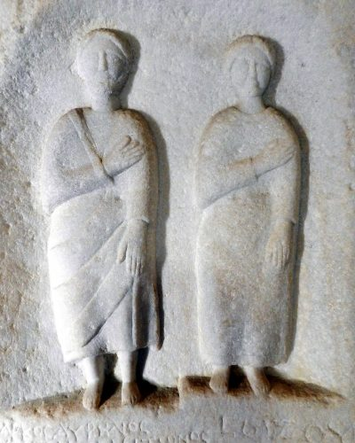 funerary stone carved couple