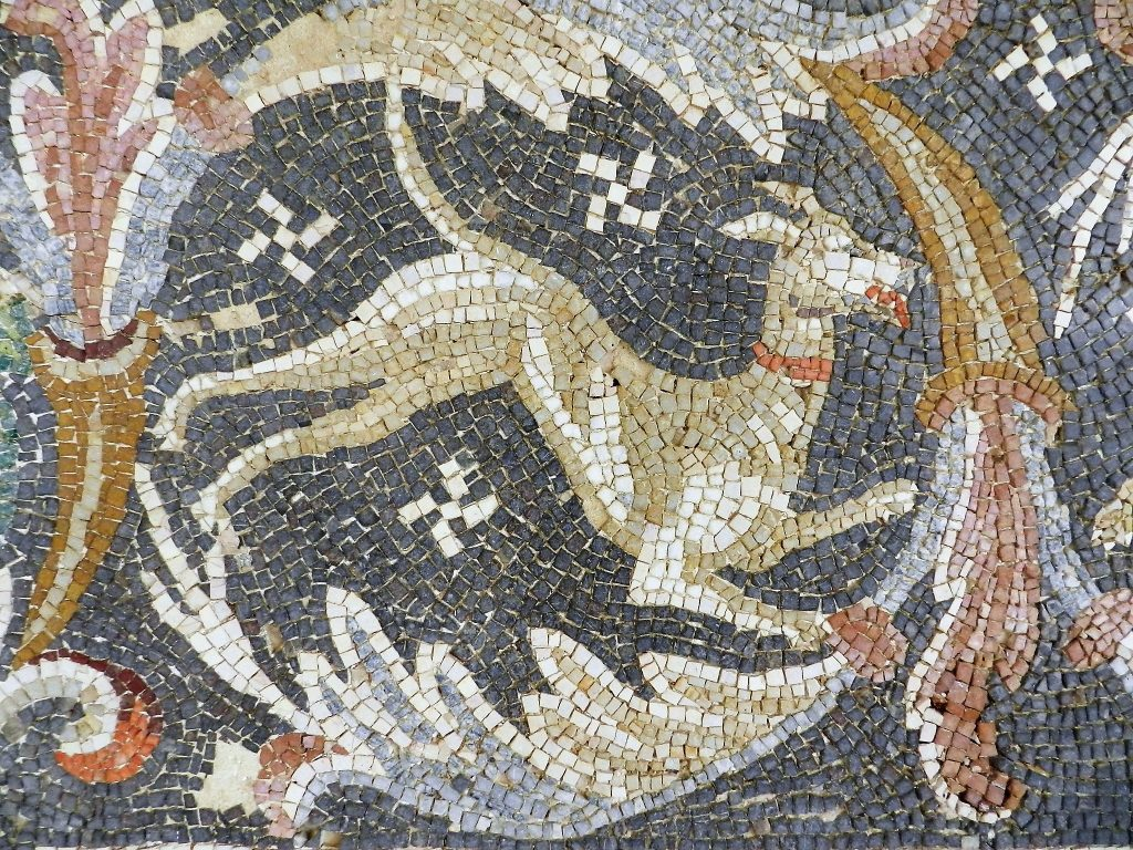 leaping dog mosaic