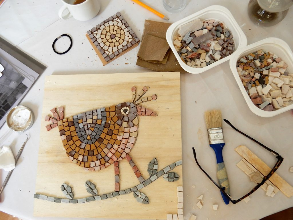 mosaic bird work in progress