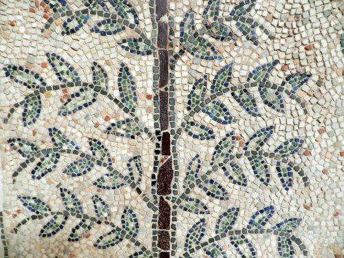 Branch detail. Mosaics of San Giovanni Evangelista, Ravenna