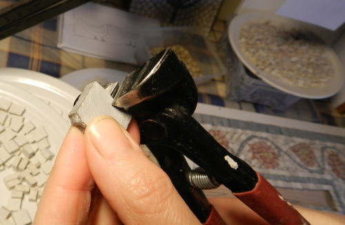 Making a Mosaic Trivet, Part III. How to cut a tile.