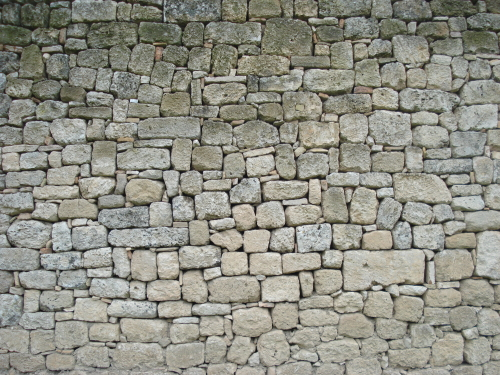 Wall at Byzantine city of Mystras, Greece.