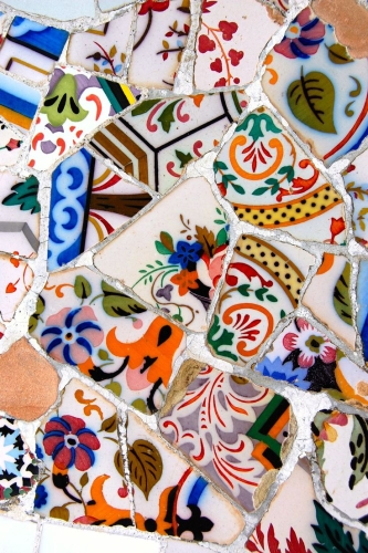 Detail from Antoni Gaudi's Parc Guell, Barcelona, Spain.