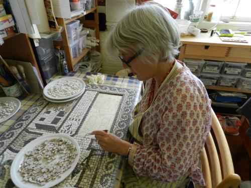 Helen Miles Mosaics at work