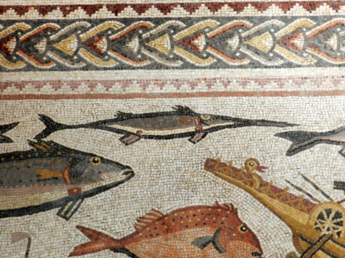 Lod mosaic, swordfish and bird