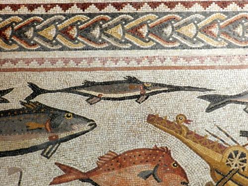 Lod mosaic, swordfish and bird