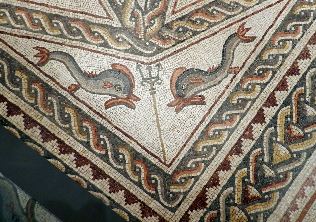 Lod mosaic, dolphins and trident
