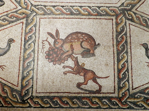 Lod mosaic, hare and hunting dog