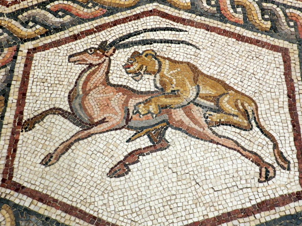 Lod mosaic, lion and antelope