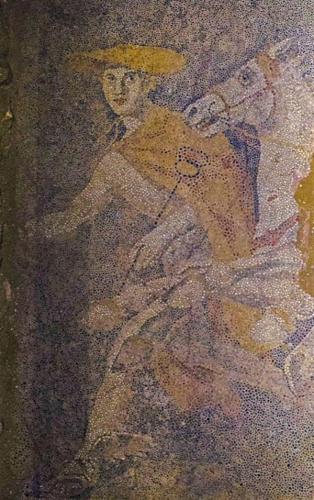 Amphipolis tomb mosaic - detail of Hermes