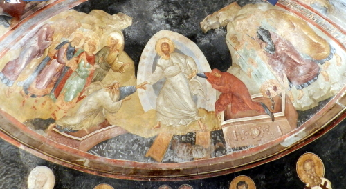 Wall painting of Resurrection. St. Saviour in Chora. Photo: Helen Miles Mosaics