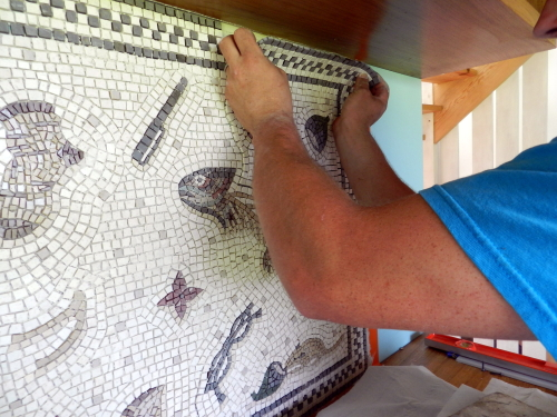Step Five: finish laying the mosaic pieces. Photo: Helen Miles Mosaics