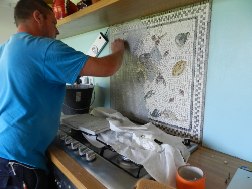 Step Six: grouting the mosaic. Photo: Helen Miles Mosaics