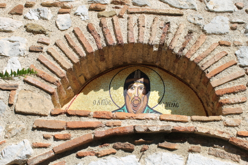 Mosaic over door, Osios Loukas. Photo: Helen Miles Mosaics