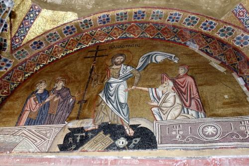 Mosaic of Resurrection, Osios Loukas. Photo: Helen Miles Mosaics