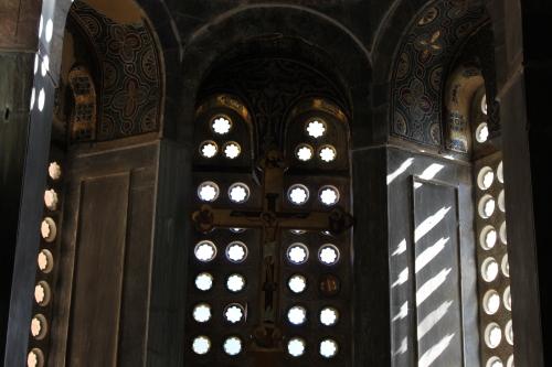 Windows, Osios Loukas. Photo: Helen Miles Mosaics