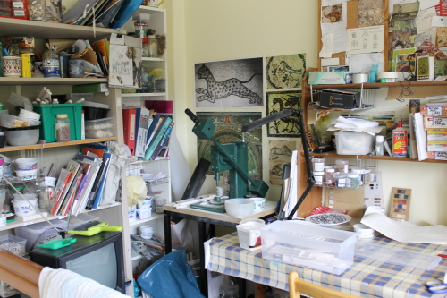 My mosaic studio. Photo: Helen Miles Mosaics