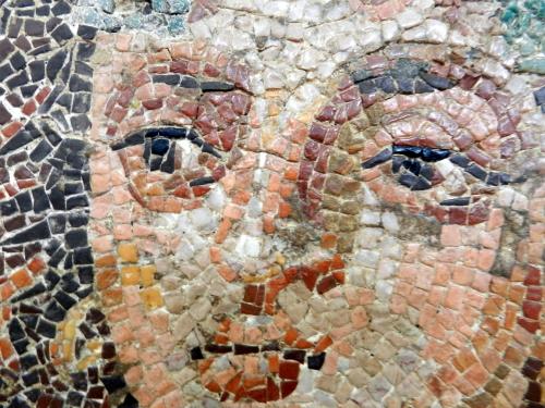 Face of Dionysos, mosaics of Corinth. Photo: Helen Miles Mosaics