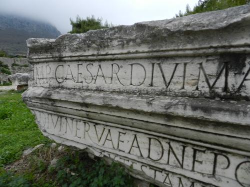 Roman inscription, Corinth, Greece. Photo: Helen Miles Mosaics