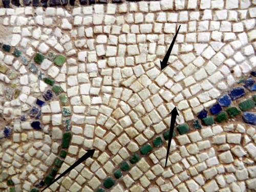 Detail of filling in, mosaics of Corinth. Photo: Helen Miles Mosaics