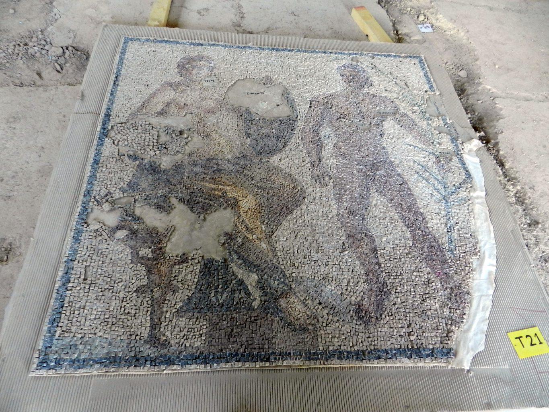 Visiting a Roman mosaic restoration workshop in Corinth, Greece