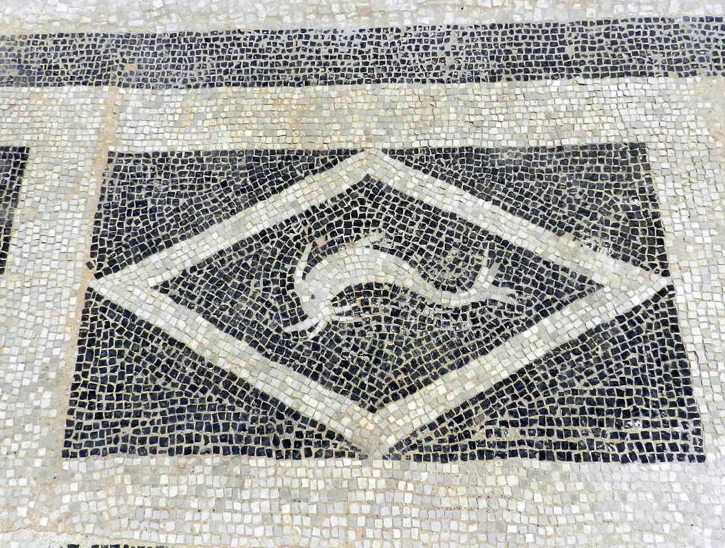 Mosaics in Greece: black and white mosaics at Isthmia.