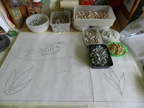 larger mosaics on mesh. Helen Miles Mosaics