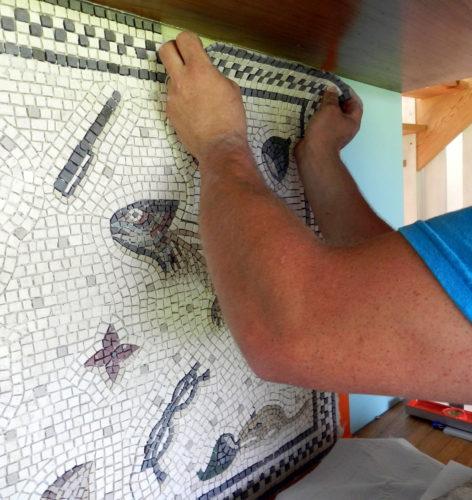 larger mosaics on mesh, Helen Miles Mosaics,