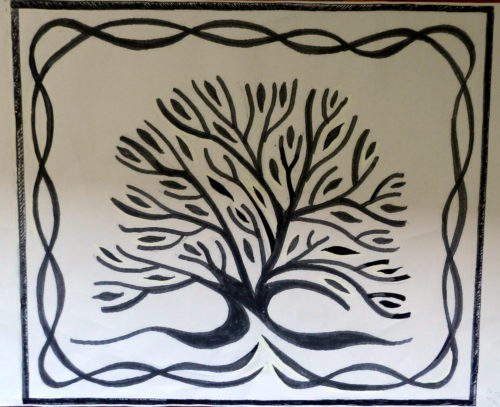 oak tree mosaic sketch