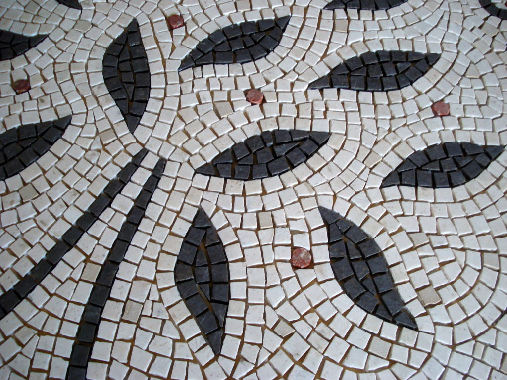 Wedding mosaic for CH & RZ_tree detail before grouting.