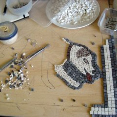scary dog mosaic_work in progress, the head.