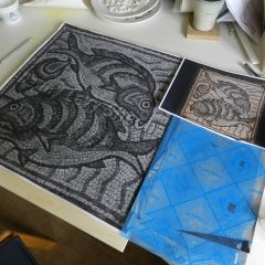 Qasr Libya fish mosaic_ready to start work