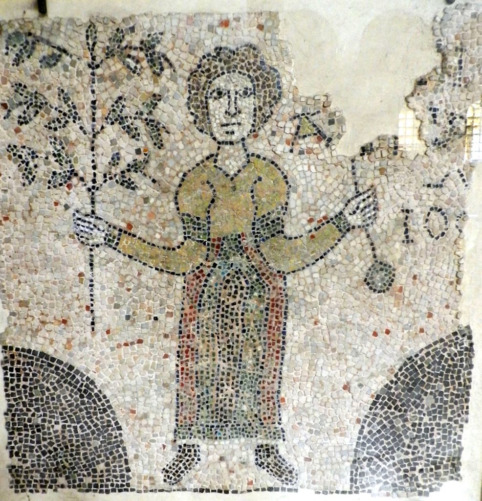Woman with branch. Mosaics of San Giovanni Evangelista, Ravenna.