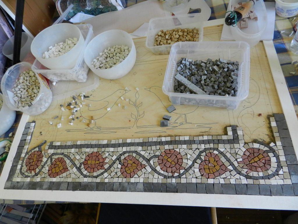 Love birds mosaic _ making progress on the border